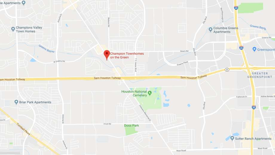 Harris County Sheriff's deputies found a man who was shot dead near a car with a 2-year-old inside. The shooting was reported at the Champion Townhomes at 11200 Veterans Memorial Drive. Photo: Google Maps
