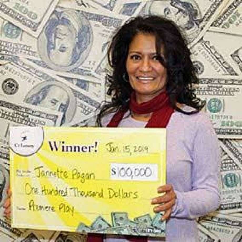 Jannette Pagan, of Bridgeport; $100,000 on a Premiere Play ticket sold at Grocery Village in Bridgeport. Pagan was hoping to win at least $100 when she purchased the ticket. But when she scratched off her ticket and found a winning number match - not with a prize for $100, but one for $100,000. Photo: Ct Lottery Photo