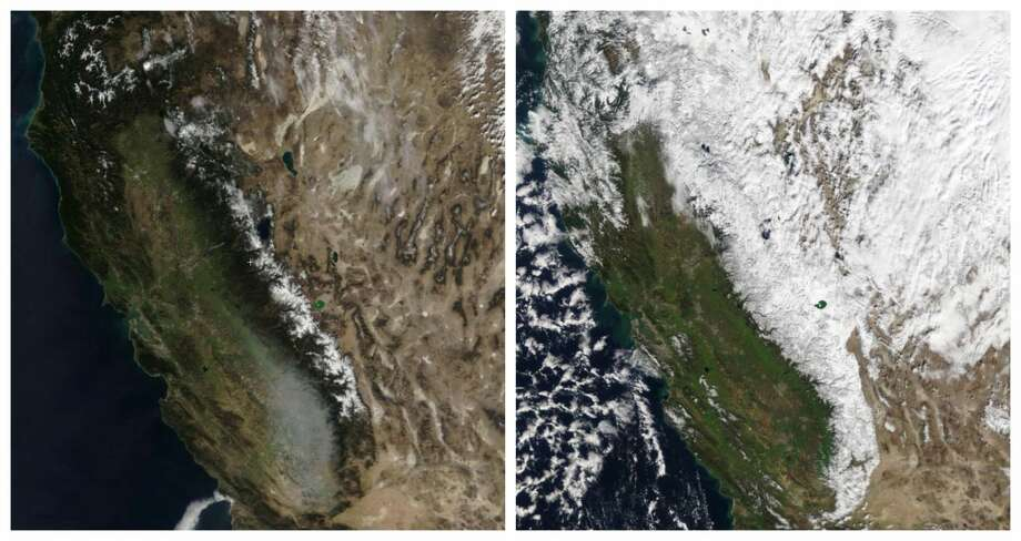 NASA satellite imagery of California captured on Feb. 5, 2018, and on Feb. 5, 2019, show the way the state looked during a winter dry spell in 2018 and amid a wet period in 2019. Photo: NASA / Zoom Earth