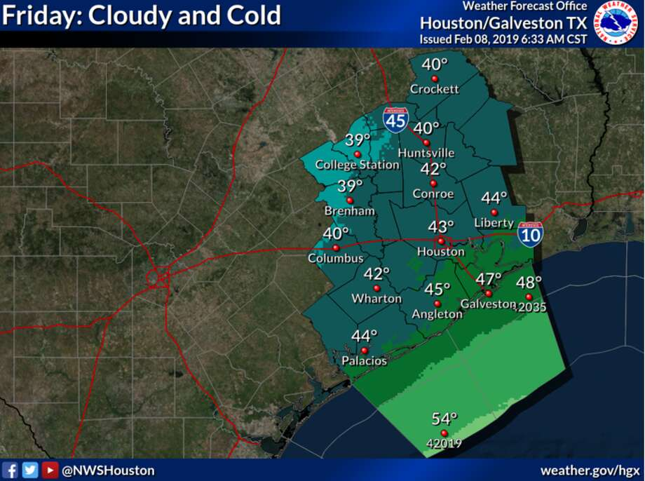 The National Weather Service predicts cold and cloudy weather for much of the weekend in the Houston area. Temperatures are expected to warm on Sunday. Photo: National Weather Service