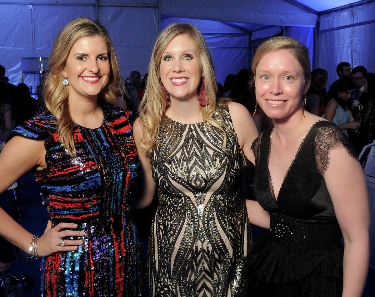 From left: Dana Wheeler, Emily Knippel and Ashley Williams at the Junior League of Houston's Fire & Ice Ball Thursday Feb. 7, 2019.