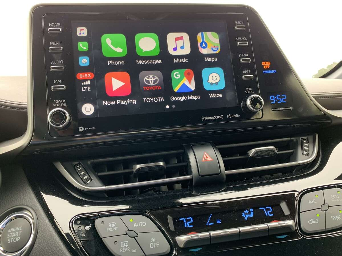 The infotainment system in the 2019 Toyota C-HR comes with Apple's CarPlay, which places familiar iPhone icons on the vehicle's in-dash touchscreen. Surprisingly, it does not come with Google's Android Auto.