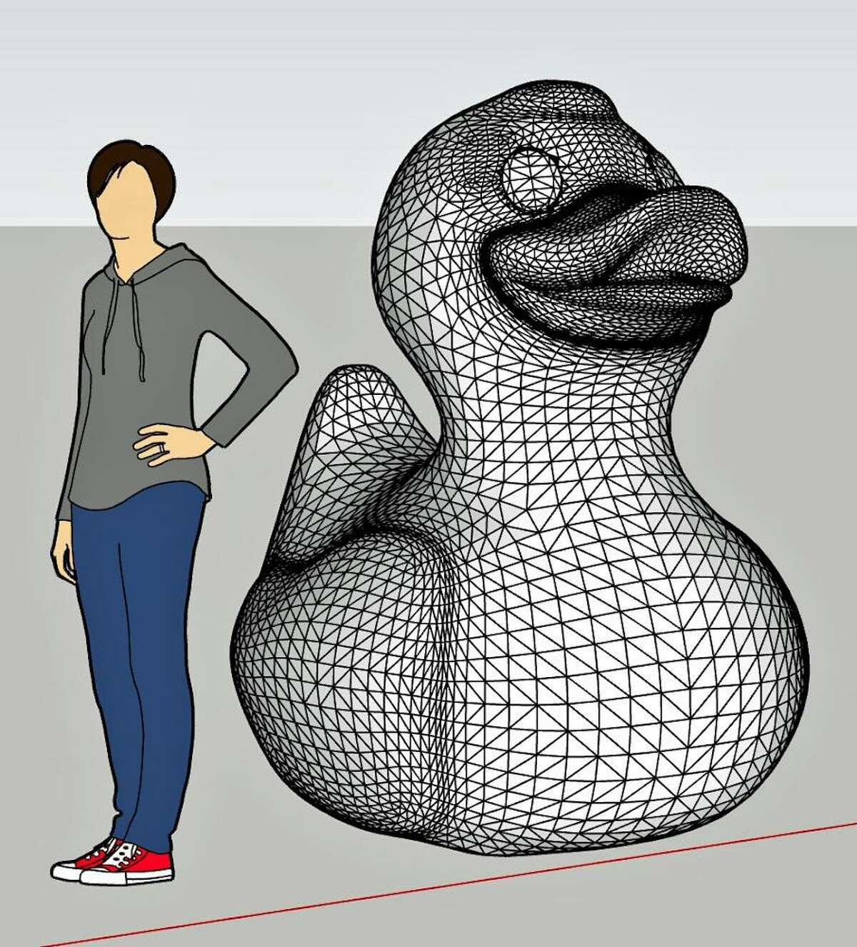 A rendering of the 3D-printed duck planned for the Great Duck Project.