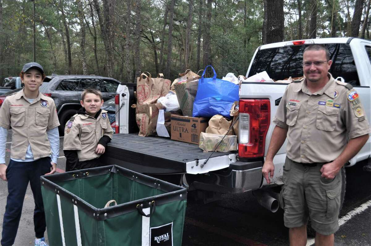 Members of the Tall Timbers District, Sam Houston Area Council, Boy Scouts of America, collected almost 9,000 pounds of food in south Montgomery County on Saturday, Feb. 2, during the 2019 Scouting for Food / Souper Bowl of Caring drive to benefit the food pantry at Interfaith of The Woodlands.
