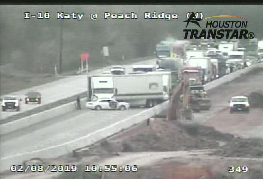 The crash happened shortly before 11 a.m. near Peach Ridge Drive. An 18-wheeler appears to have jackknifed, according to Houston TranStar video. Photo: Houston TranStar