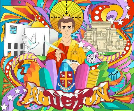 """Local graffiti artist Mario Figueroa Jr., best known as Gonzo 247 — the artist behind the colorful """"Houston is Inspired"""" mural near Market Square Park — will paint University of St. Thomas in Houston's first permanent mural on-campus. The mural will depict St. Thomas Aquinas, the Italian Catholic priest after which the university was named. This picture is an initial rendering."""