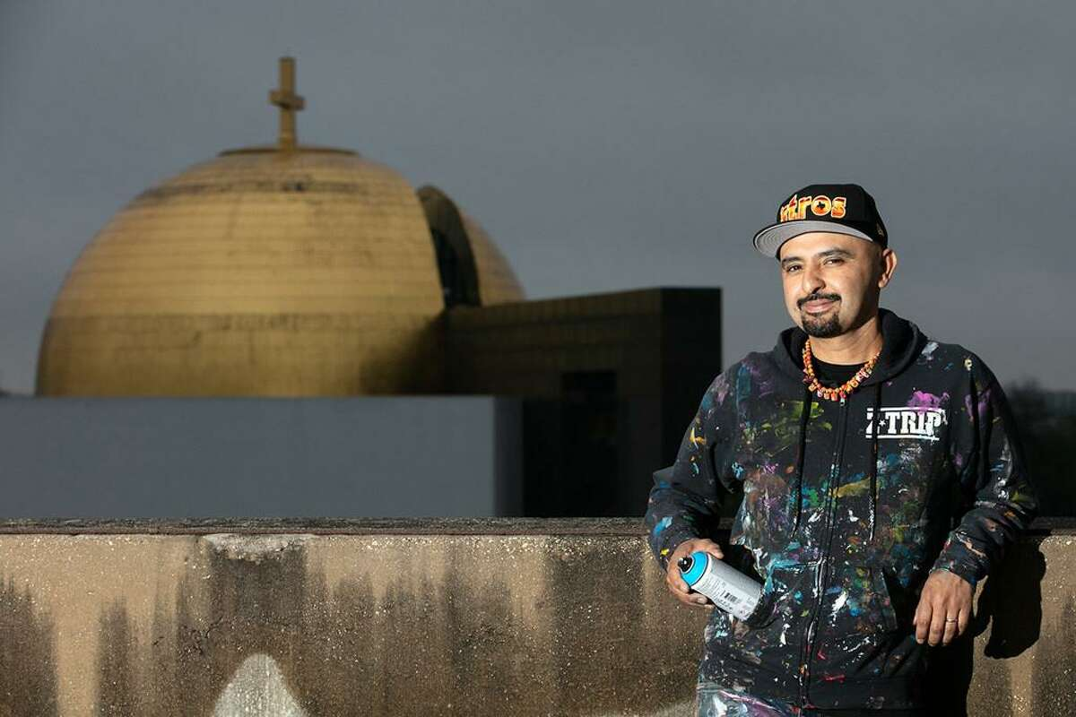 """Local graffiti artist Mario Figueroa Jr., best known as Gonzo247 - the artist behind the colorful """"Houston is Inspired"""" mural near Market Square Park - will paint University of St. Thomas' first permanent mural on-campus."""