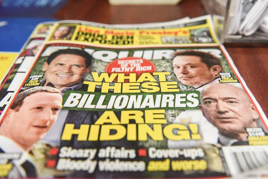 NEW YORK, NY - FEBRUARY 08: The National Enquirer is photographed at a convenience store on February 8, 2019 in New York City. Jeff Bezos, CEO of Amazon is accusing the David J. Pecker, publisher of National Enquirer, the nations leading supermarket tabloid, of extortion and blackmail. (Photo by Stephanie Keith/Getty Images) Photo: Stephanie Keith / Getty Images