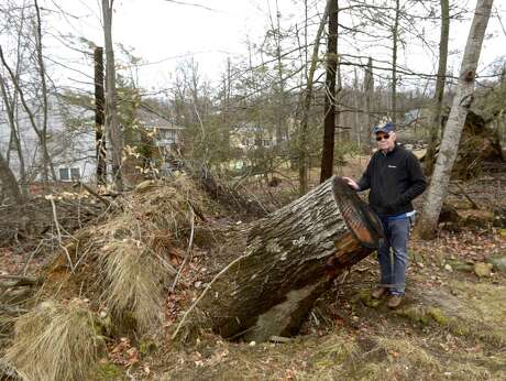 Ray Murphy had his home and property damaged from the storm last May. The home has been repaired but you can still see the damage from the storm to the trees on the property. Thursday, February 7, 2019, in Brookfield, Conn. Photo: H John Voorhees III / Hearst Connecticut Media / The News-Times