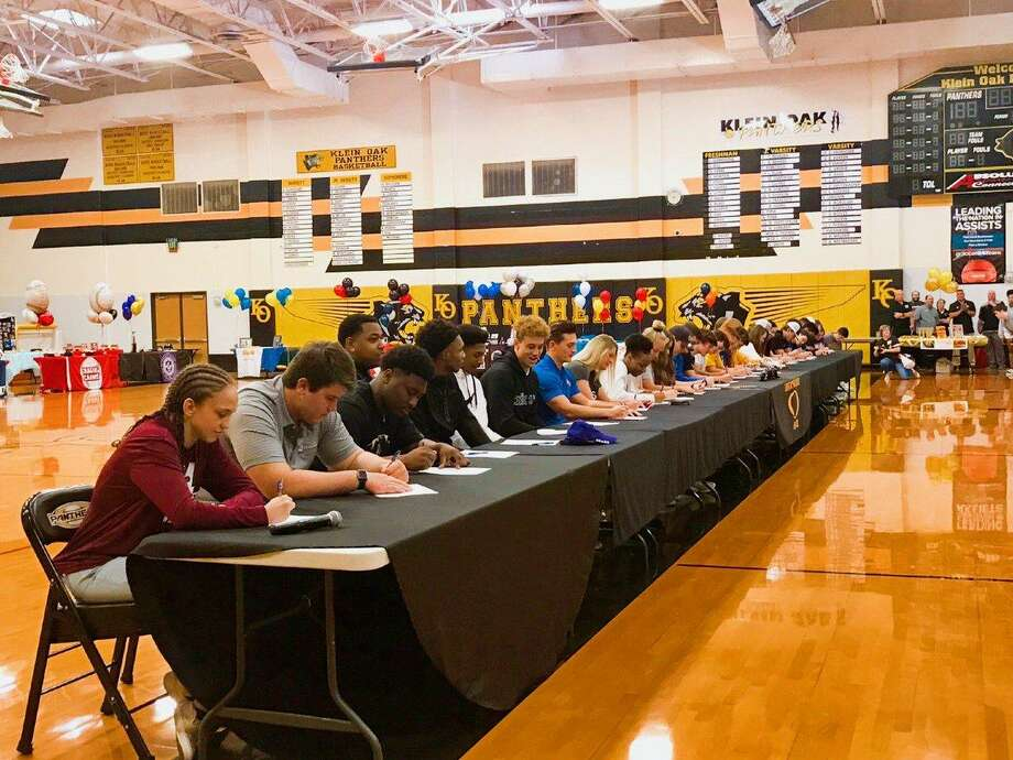 At Klein Oak High School, 22 student-athletes signed their letters to play football on National Signing Day, Feb. 6, making it a total of 36 signees so far. Photo: Klein ISD