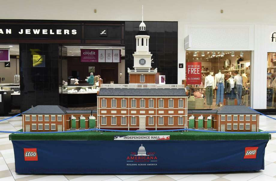 Independence Hall is on display in the LEGO Americana Roadshow at Crossgates Mall on Friday, Feb. 8, 2019 in Guilderland, N.Y. The larger than life LEGO replicas of some of America's most well-known and beloved architectural structures will be on display February 9-24. (Lori Van Buren/Times Union) Photo: Lori Van Buren, Albany Times Union / 40046134A