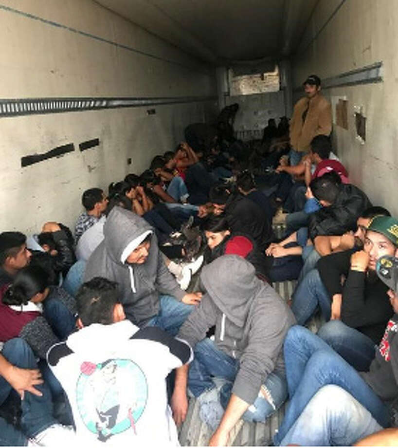 More than 60 undocumented immigrants were found in a tractor-trailer at the Texas travel information center parking lot, the Webb County Sheriff's Office said Thursday. Photo: Courtesy, Courtesy