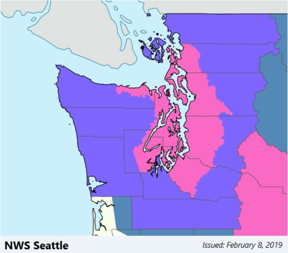 Winter storm warnings (pink) and advisories (purple) were in place across Western Washington on Friday, with the main snow event expected mid afternoon for Seattle. Photo: NOAA