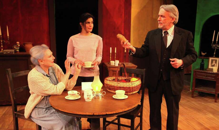 "Deborah Carlson (Miss Helen), left, Lynnette Victoria (Elsa Barlow) and Alexander Kulcsar (Marius Byleveld) in the Westport Community Theatre production of ""The Road to Mecca."" Photo: Westport Community Theatre / Contributed Photo / Connecticut Post Contributed"