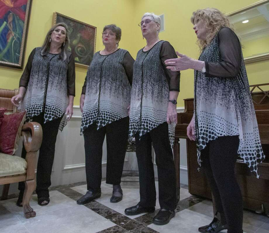 The Woodlands Show Chorus members from left, Janeen Osina, Linda Knight, Alice Haageen and Barbara Crain perform Thursday, Feb. 7, 2019 at Crain's home in The Woodlands. Photo: Cody Bahn, Houston Chronicle / Staff Photographer / © 2018 Houston Chronicle
