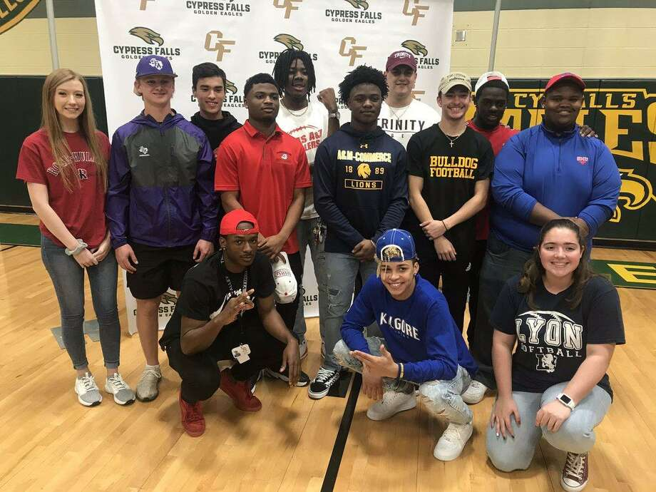 At Cy Falls High School, 13 student-athletes signed their letters to play at the next level on National Signing Day, Feb. 6, including nine football players. Photo: CFISD