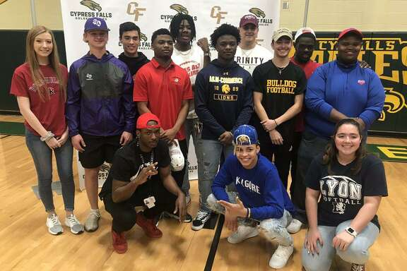 At Cy Falls High School, 13 student-athletes signed their letters to play at the next level on National Signing Day, Feb. 6, including nine football players.