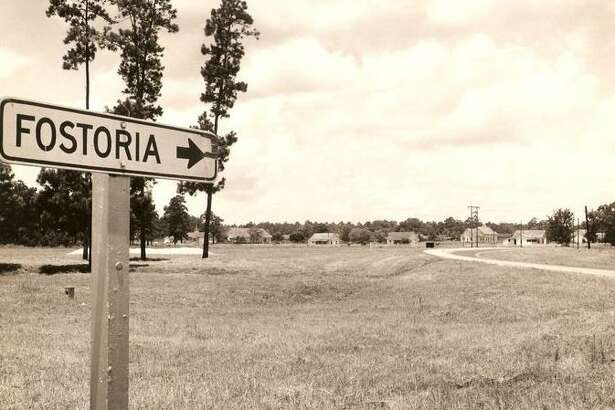 The sign pointing to the mill town of Fostoria. The town was located five miles west of Cleveland on Texas 105. The town and mill were in existence from 1904 to 1957. Now only the sign, a cemetery and a road named Fostoria Road are left in the area.