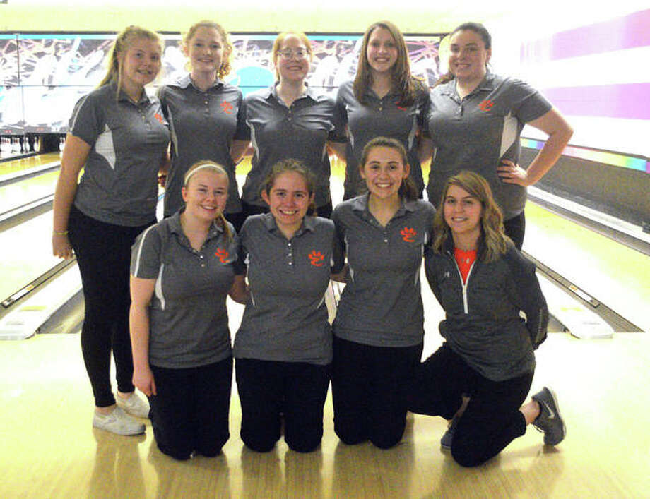 The Edwardsville girls' bowling team poses for a photo after placing third in the Collinsville Regional on Feb. 1 at Camelot Bowl. EHS is in the Carterville Sectional on Saturday. Photo: Scott Marion/Intelligencer