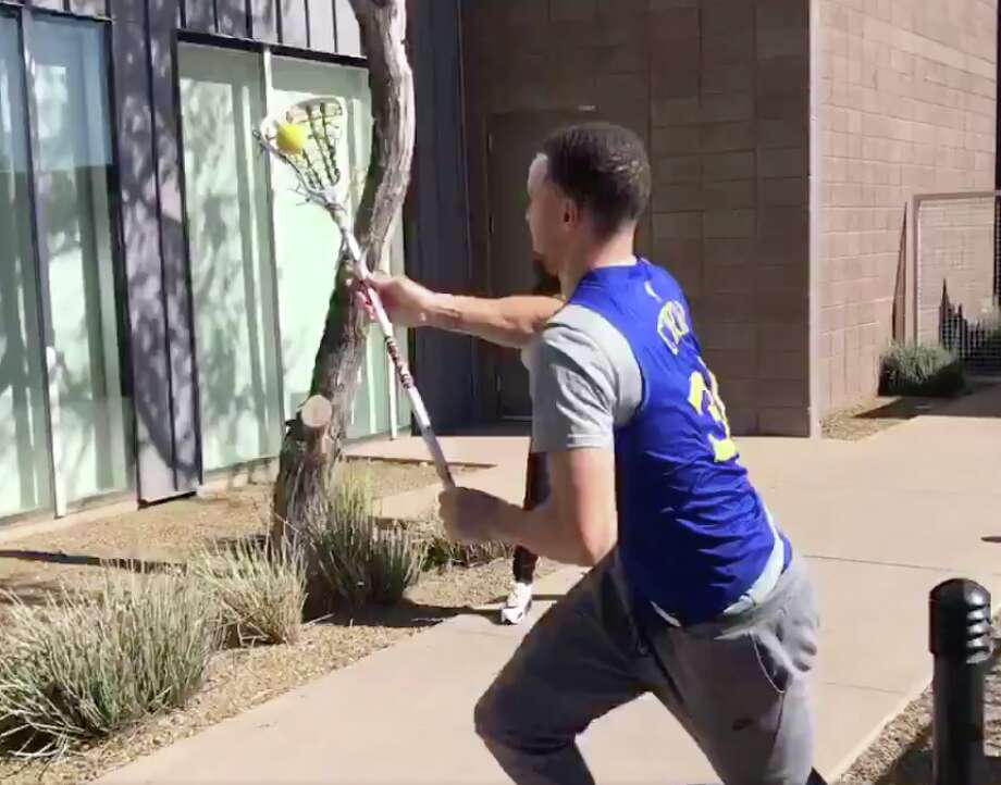 Stephen Curry showed off his lacrosse skills at Arizona State University on Friday, Feb. 8, 2019. Photo: Connor Letourneau/The Chronicle