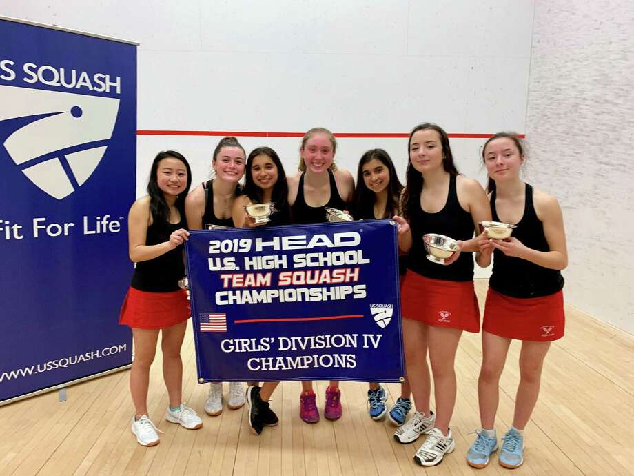 A squash team representing Greenwich High School won the Division 4 title at the 2019 HEAD U.S. High School Team Championships this past Sunday at Loomis Chaffee School. Greenwich defeated St. Mark's School, 5-2, in the championship match. Photo: Contributed Photo / Contributed Photo / Greenwich Time Contributed