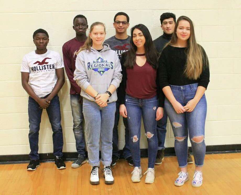 Cass City Schools have seven foreign exchange students this year. Pictured are, front row, Savina Terpe, Maelys Christien and Orsolya Pleban; and back row, Alie Kalokon, Serigne Mbodji, Ghazi Shawish and Shahrom Saidahmadzod. (Submitted Photo)