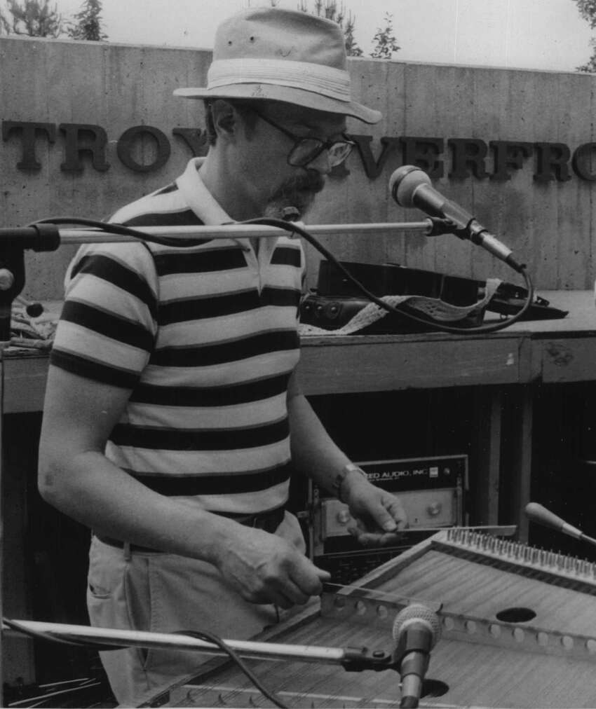 Bill Spence of Voorheesville plays the hammered dulcimer during the Council on the Arts Festival at  Riverfront Park on June 1, 1985, in Troy, N.Y. (Bob Richey/Times Union Archive)