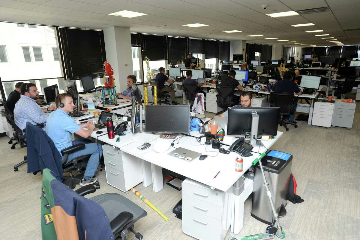One of several large workspaces inside the Indeed offices on Broad St. in downtown Stamford, Conn. on Tuesday, July 17, 2018.