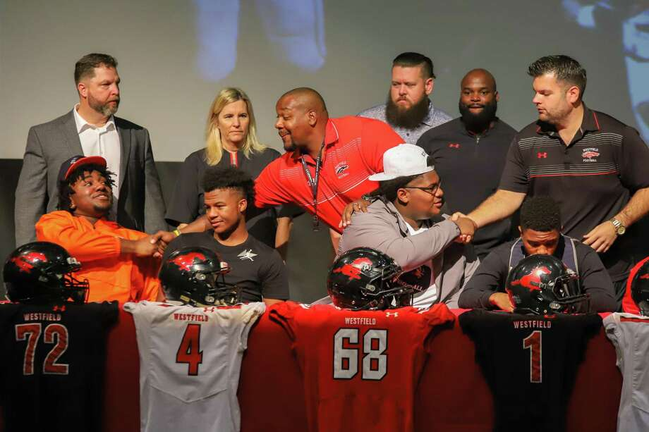 At Westfield High School, 10 student-athletes signed their letters to play football on National Signing Day, Feb. 6, including (from left to right) Cedric Claiborne, Tre Coburn, Keith Dixon and Rayshawn James. Photo: Spring ISD / SPRING ISD SPRING ISD