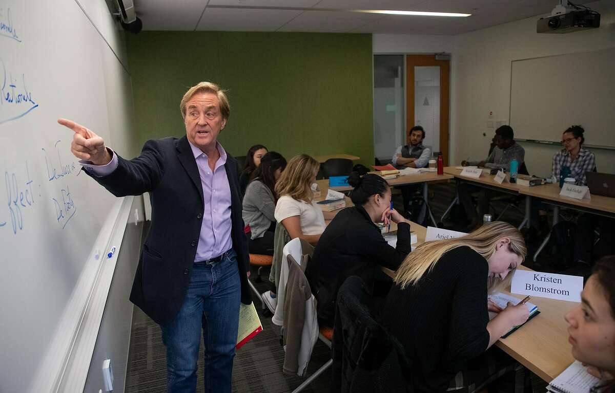 Jim Steyer, founder of Common Sense Media, teaches an undergraduate law course at Stanford University on Thursday, Feb. 7, 2019, in Stanford, Calif. Common Sense Media supports a strong data privacy law in Congress.