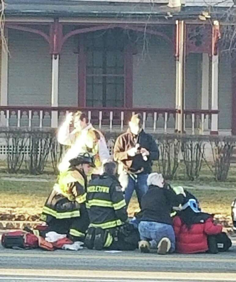 Two pedestrians were hit by a vehicle just before 4:30 p.m. Friday on Washington Street/Route 66, according to Middletown police. Their condition is unknown. Photo: Contributed Photo