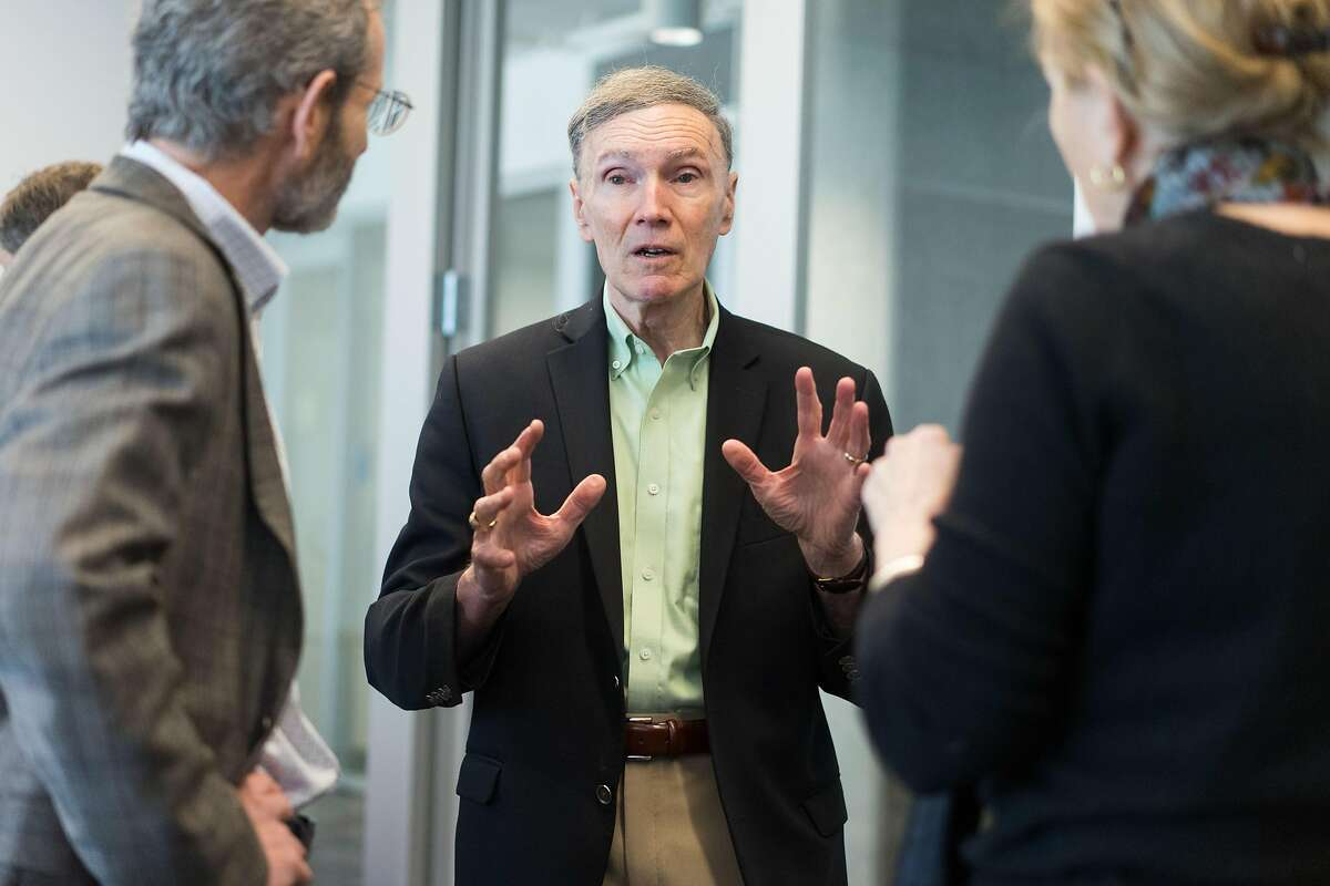 Richard Shortell speaks to meeting attendees at the UC Berkeley School of Public Health in Berkeley, Calif. on Friday, Feb. 8, 2019. UC Berkeley Petris health policy experts are releasing a proposal on how to reach universal health care coverage in California.