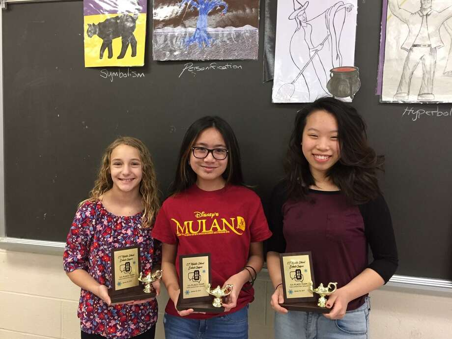 Representing Torrington Middle School, eighth grade students Ashley Petzel and Ivy Kang earned an award as one of the five most outstanding teams at the Connecticut Middle School Debate League's winter tournament, held Jan. 26 in Bethel. Credit also goes to their teammate Calista Oria, who was a key speech writer and trainer. Photo: Contributed Photo