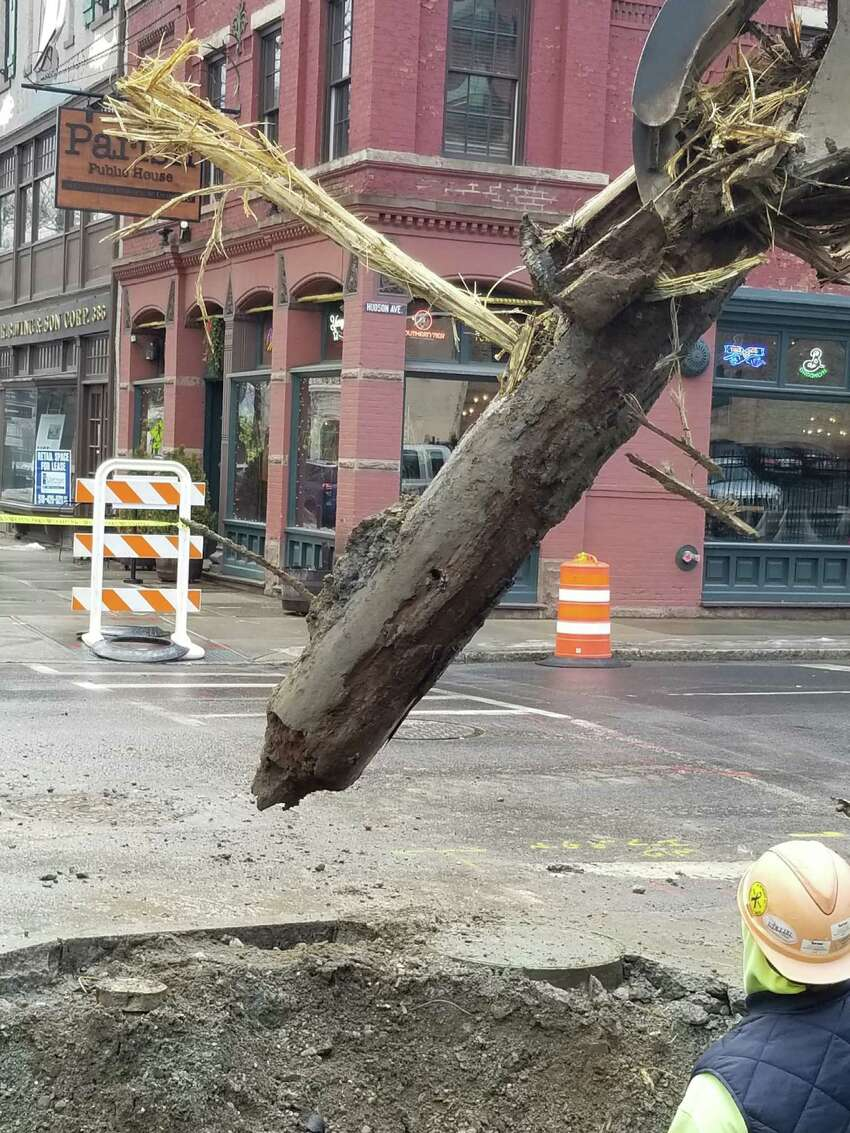 The Albany Water Department excavated a wood water main, estimated to be from the 1700's, while working on Broadway on Friday Feb. 8.