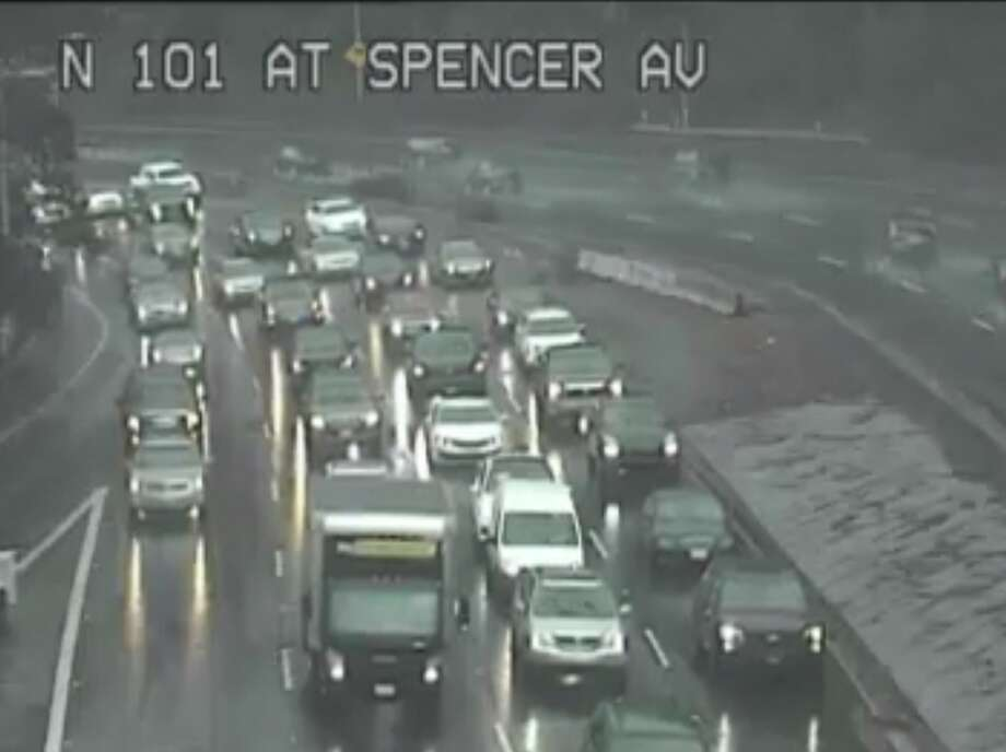 Traffic backed up on Northbound 101 heading into Sausalito, where an accident occurred Friday afternoon. Traffic is shown at 3:12 p.m. Photo: Caltrans