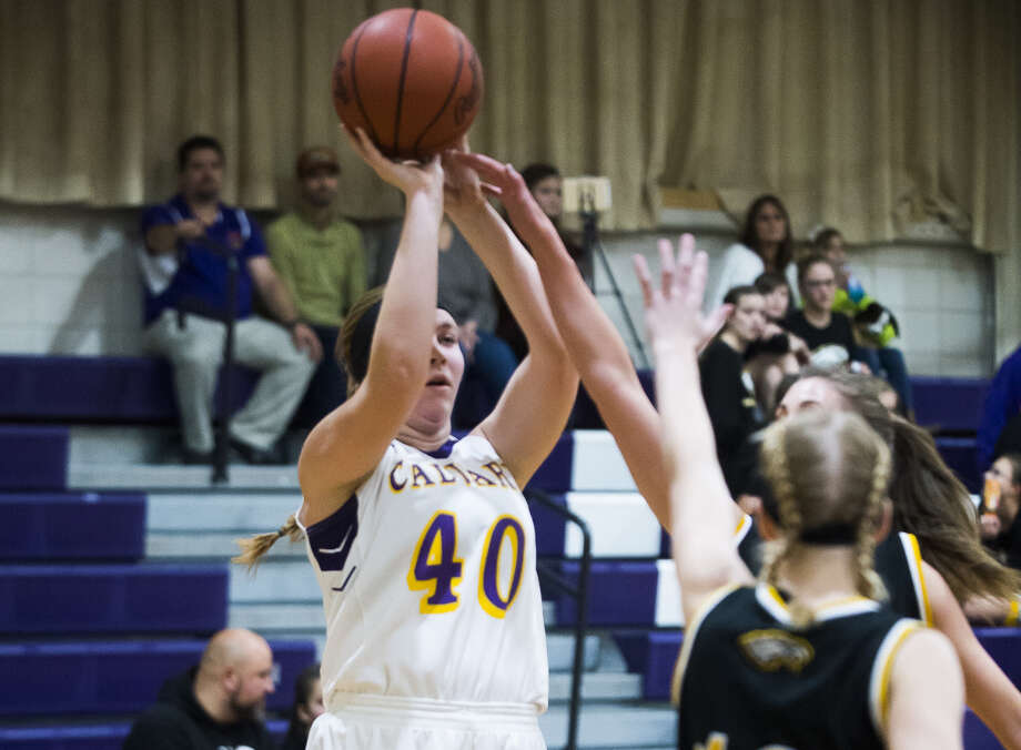 Calvary Baptist's Bailee Hunger takes a shot during a Dec. 7, 2018 game against Faith Baptist of Davison. Hunger had 20 points, 17 rebounds, five steals, and four blocks in the Kings' homecoming win over Juniata on Friday. Photo: Daily News File Photo