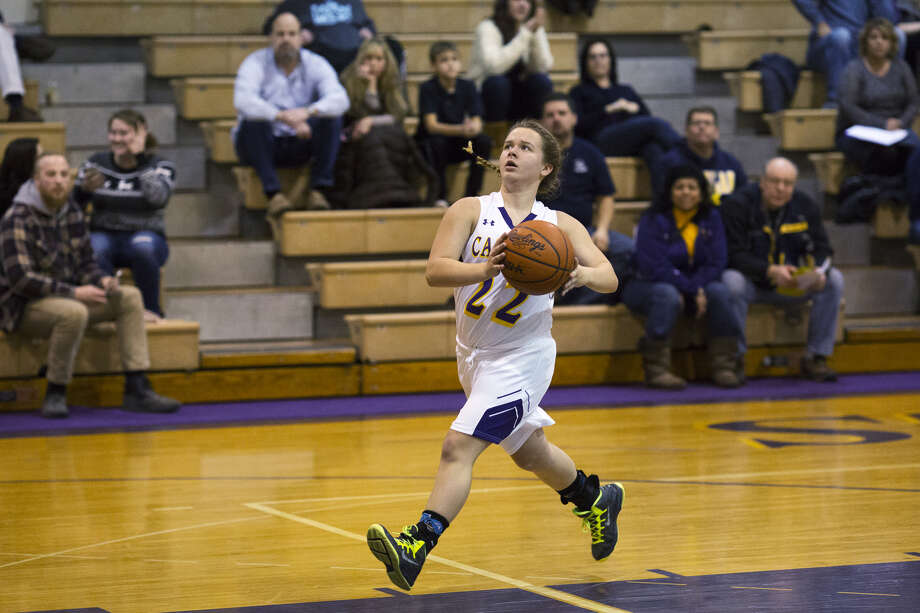 CBA's Abbie Ouderkirk runs the court in transition during a Feb. 16, 2017 game against West Highland Christian. Photo: Daily News File Photo