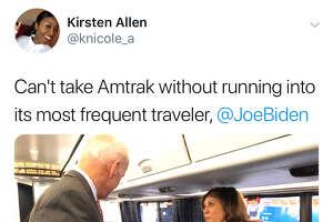Reactions abounded when Sen. Kamala Harris, D-Calif., ran into former Vice President Joe Biden on Amtrak this week.