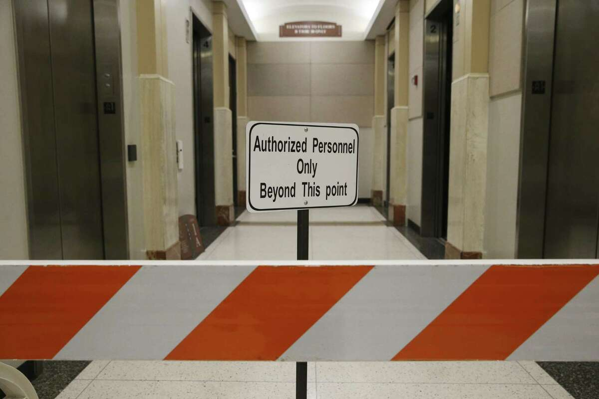 Some elevators are still waiting to be repaired at the Harris County Criminal Justice Center on Friday, Nov. 16, 2018, in Houston. The building was damaged by the Hurricane Harvey floodwater.