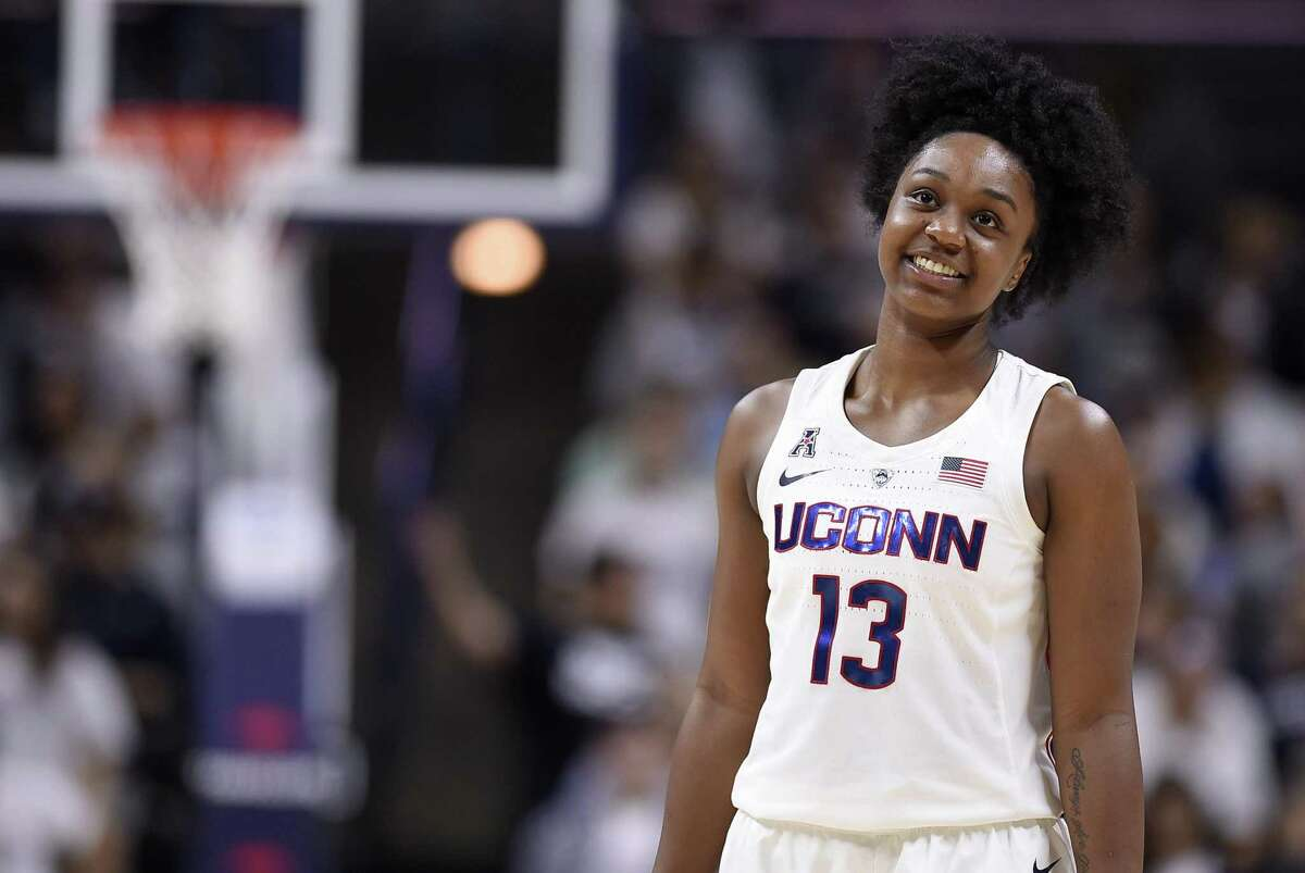 Connecticut's Christyn Williams during the second half of an NCAA exhibition women's college basketball game in Storrs, Conn., Sunday, Nov. 4, 2018. (AP Photo/Jessica Hill)