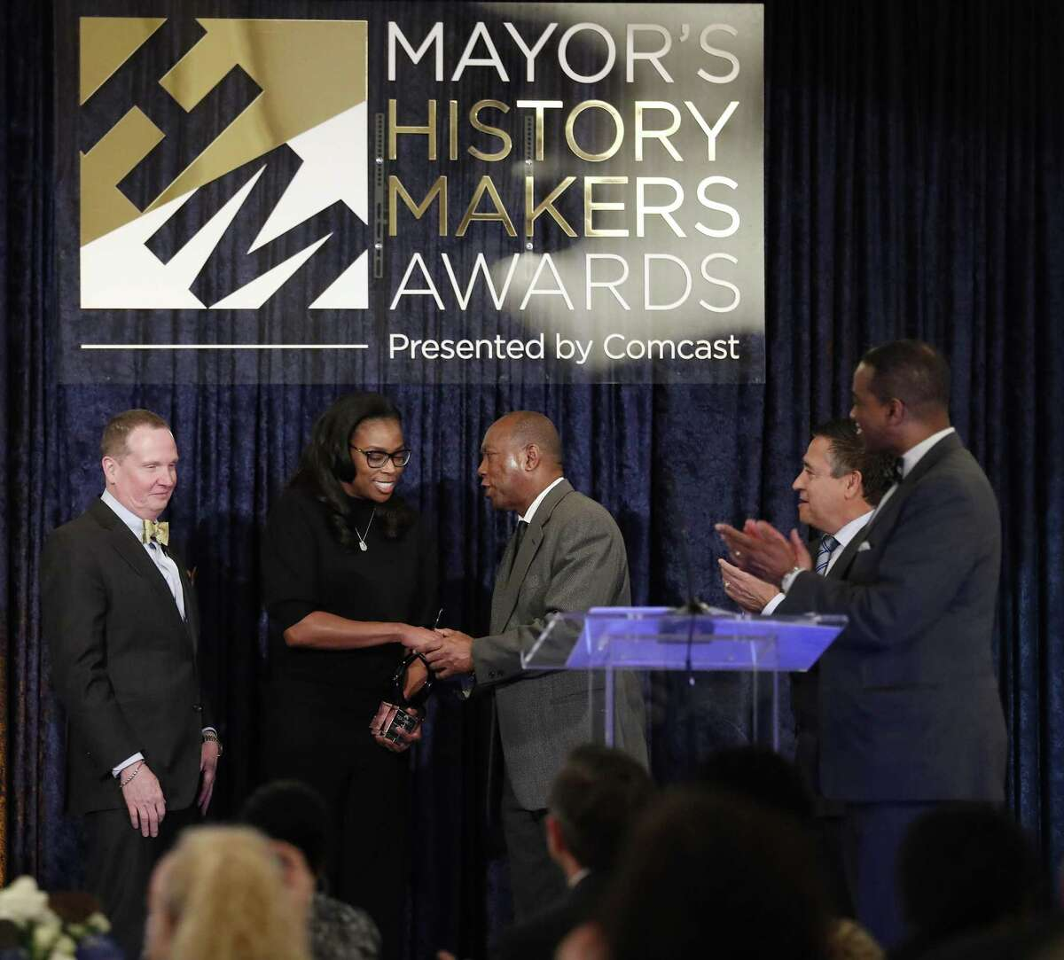 Honoree Tiffany Sanders during the Mayor Sylvester Turner's second annual History Makers Awards at the Houstonian Hotel, Friday, Feb. 8, 2019, in Houston.