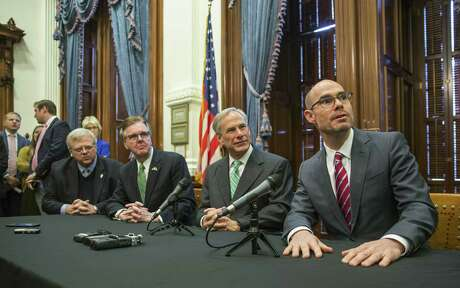 From left, state Sen. Paul Bettencourt, Lt. Gov. Dan Patrick, Gov. Greg Abbott, and House Speaker Dennis Bonnen spoke to the local news media during a press conference Thursday, Jan. 31, 2019, about property tax reform in Texas.