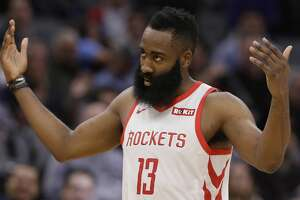 Houston Rockets guard James Harden waves to the crowd after he was called for a technical foul during the second half of the team's NBA basketball game against the Sacramento Kings, Wednesday, Feb. 6, 2019, in Sacramento, Calif. The Rockets won 127-101. (AP Photo/Rich Pedroncelli)