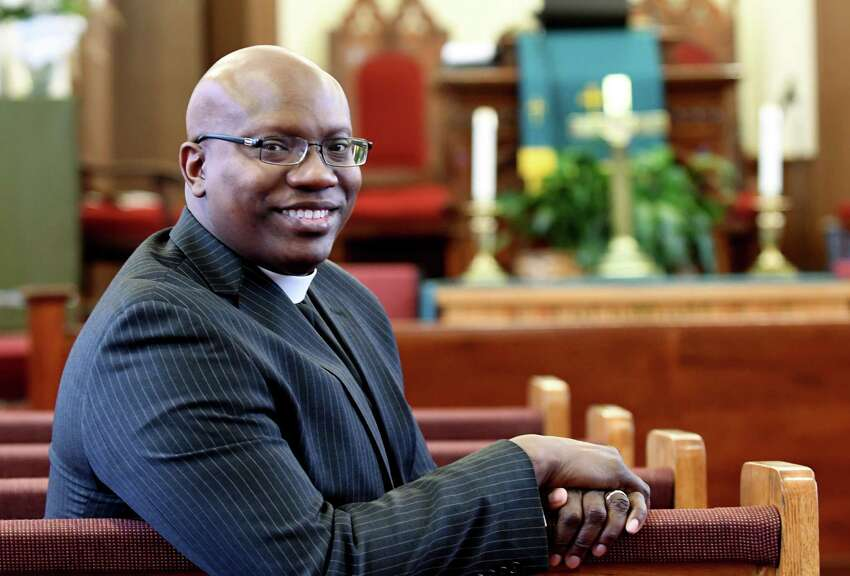 Rev. Craig Robinson of the Israel African Methodist Episcopal Church on Tuesday, Jan. 29, 2019, in Albany, N.Y. The church is hosting events on February 10 and 24 to celebrate its 190th anniversary. (Will Waldron/Times Union)
