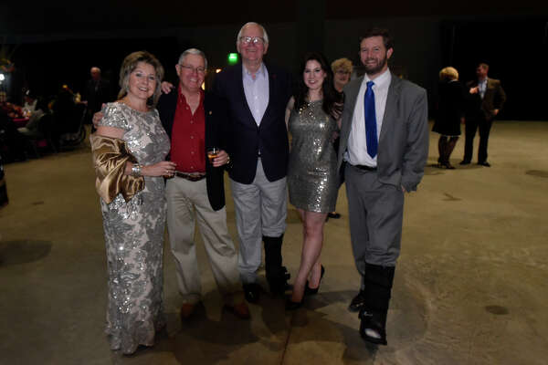 From left, Kim Linebarger, Dan Linebarger, Mike Bradford, Elana Ladd, and Jack Ladd, photographed during Chocolate Decadence, the annual fundraiser for Aphasia Center of West Texas, Feb. 8, 2019 at Horseshoe Pavilion. James Durbin/Reporter-Telegram