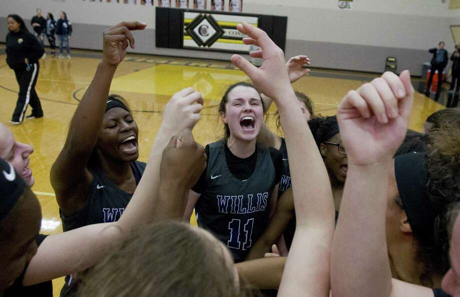 Willis players cheer after defeating Montgomery 39-36 during overtime of a District 20-5A high school playoff play-in game at Conroe High School, Friday, Feb. 8, 2019, in Conroe. Photo: Jason Fochtman, Houston Chronicle / Staff Photographer / © 2019 Houston Chronicle