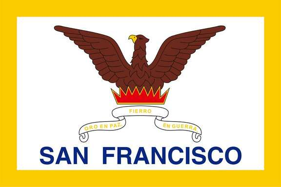 San Francisco's current flag emphasizes resilience. San Francisco rose like the mythic Phoenix from the ashes of fires that swept the city in the 1850s.