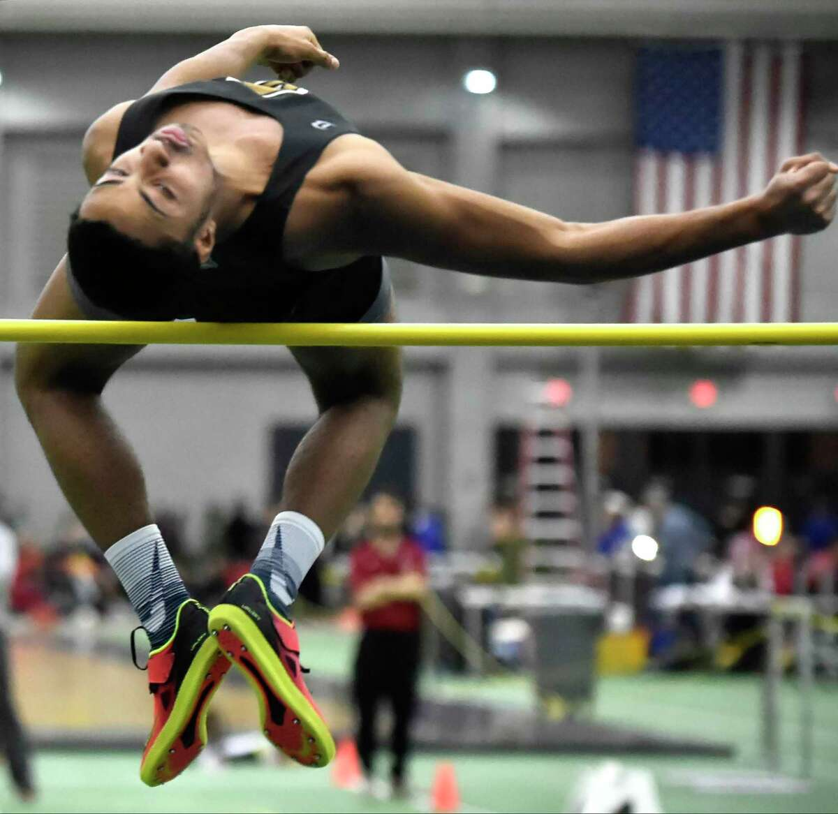 New Haven, Connecticut - Friday, February 8, 2019: Shaun Graham of Amity H.S. wins the high jump during the CIAC Class L Boys and Girls Indoor Track state championship Friday at the Floyd Little Athletic Center in New Haven .