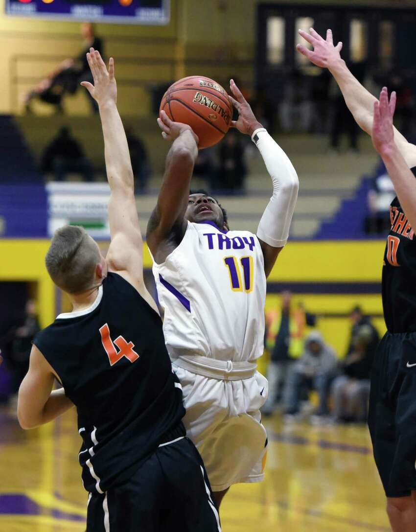 Troy's Nazaire Merritt takes a shot at the basket during a game against Bethlehem on Friday, Feb. 8, 2019 at Troy High School in Troy, NY. (Phoebe Sheehan/Times Union) ORG XMIT: 40046118A