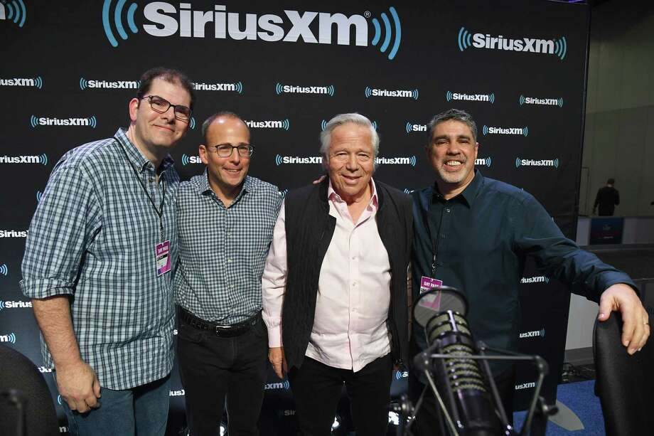 "At right, Riverside resident and ""Howard Stern Show"" producer Gary Dell'Abate spent time before the Super Bowl interviewing, from left, New England Patriots President Jon Hein, CEO Jonathan Kraft and owner Robert Kraft on Feb. 1 in Atlanta. Photo: Kevin Mazur / Getty Images / 2019 Kevin Mazur"